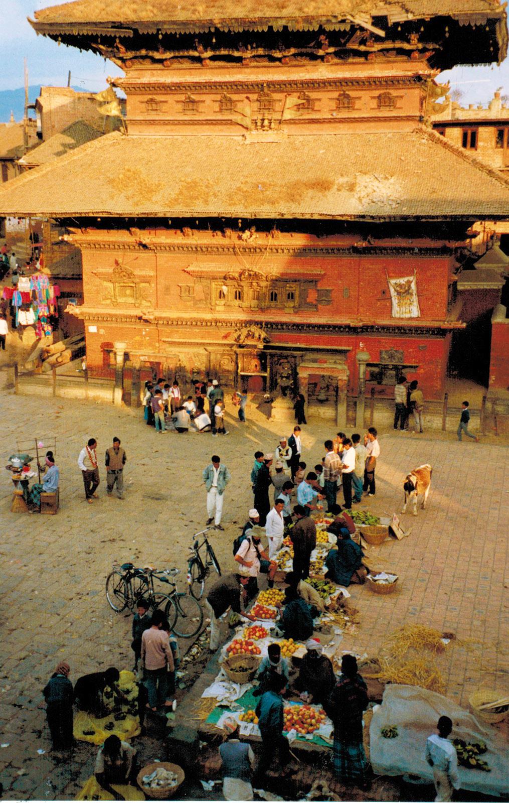 Nepal, Dubar Square - der Hauptplatz von Kathmandu 1991. Foto: Hilke Maunder