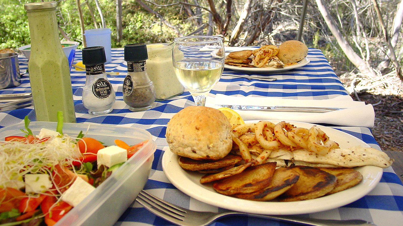 Leckeres Lunch mitte im Bush – auf Kangaroo Island in Südaustralien. Foto: Hilke Maunder