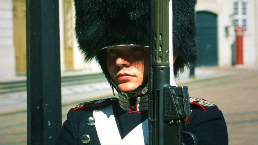 Seeland: Ein junger Mann der Palastwache von Schloss Amalienborg. Foto: Hilke Maunder