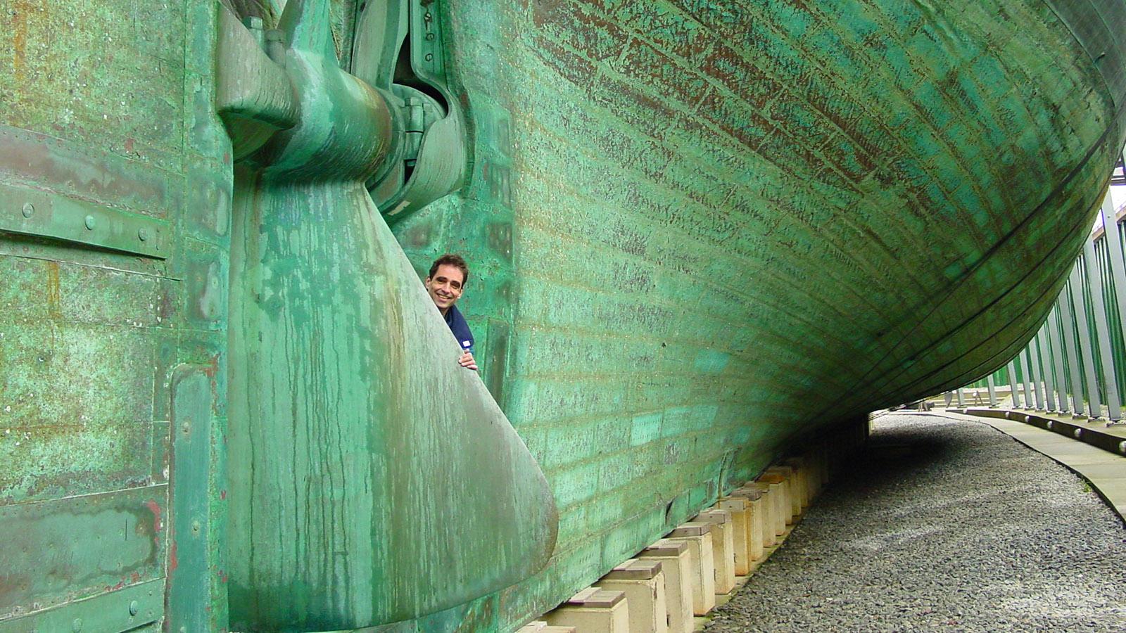 Djursland, Ebeltoft: Fregatte Jylland, mit 61 m der größte Holzsegler der Welt. Hier:die Schiffsschraube, die zum Segeln hochgezogen werden konnte. Foto: Hilke Maunder