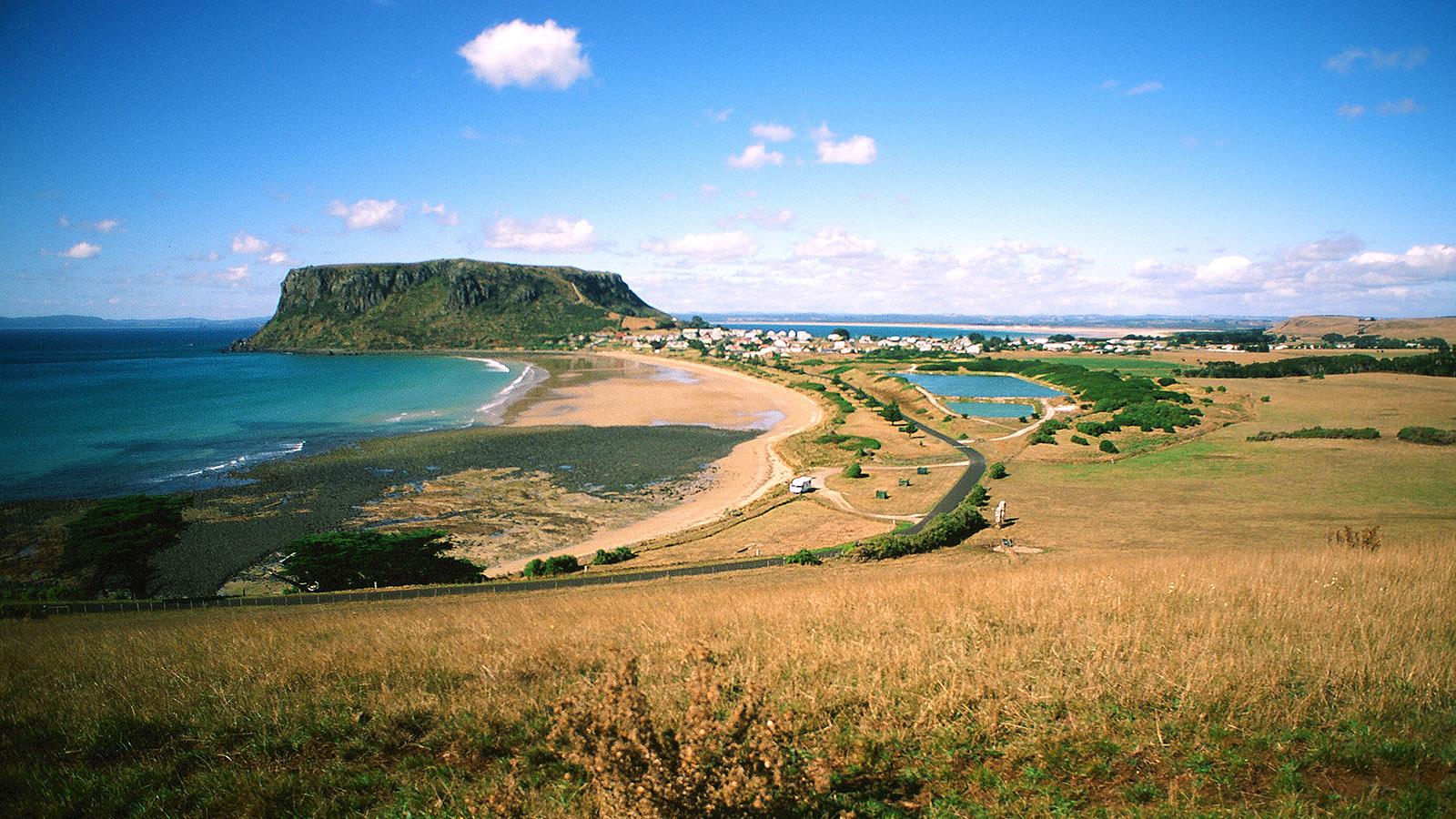 """Tasmanien, North Coast: Stanley und """"The Nut"""". Foto: Hilke Maunder"""