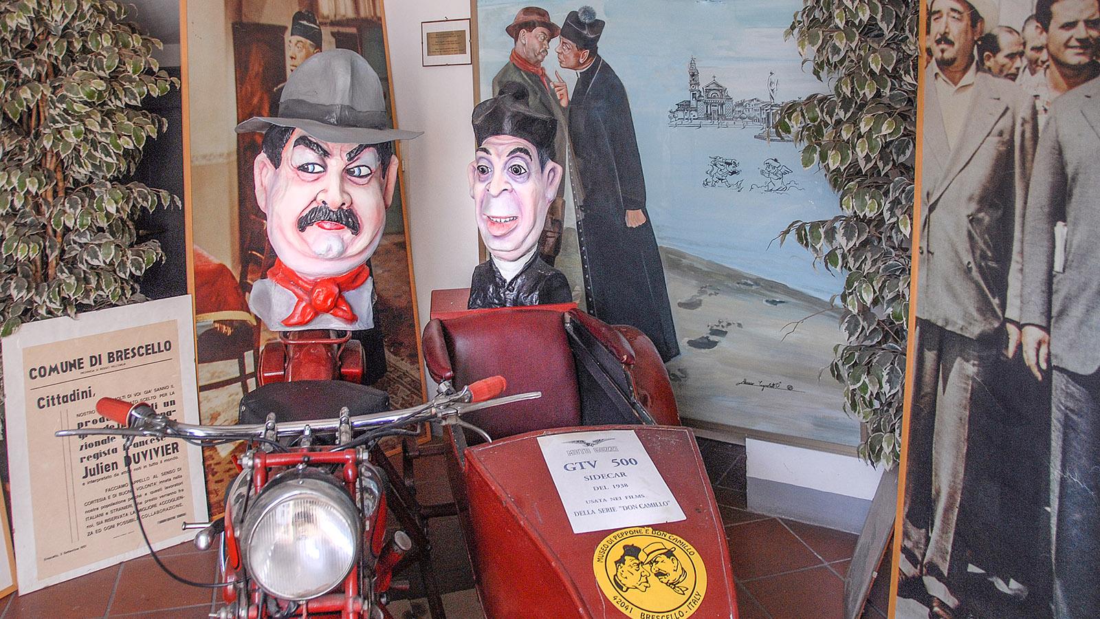 Auch die Moto Guzzi fehlt nicht im Don Camillo und Peppone-Museum von Brescello. Foto: Hilke Maunder
