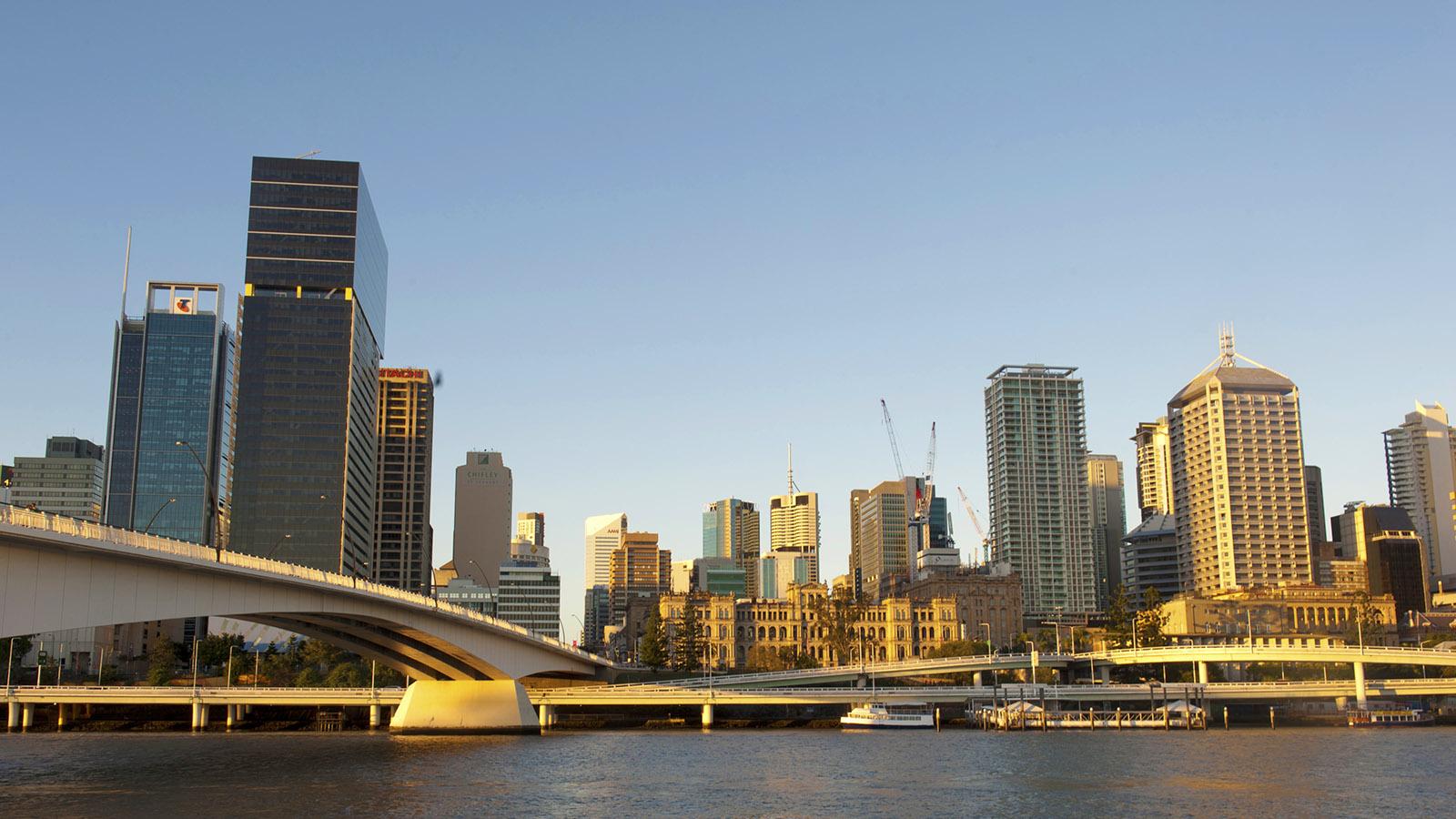 Ostküste: Blick auf Brisbane von den South Bank Parklands. Foto: Hilke Maunder