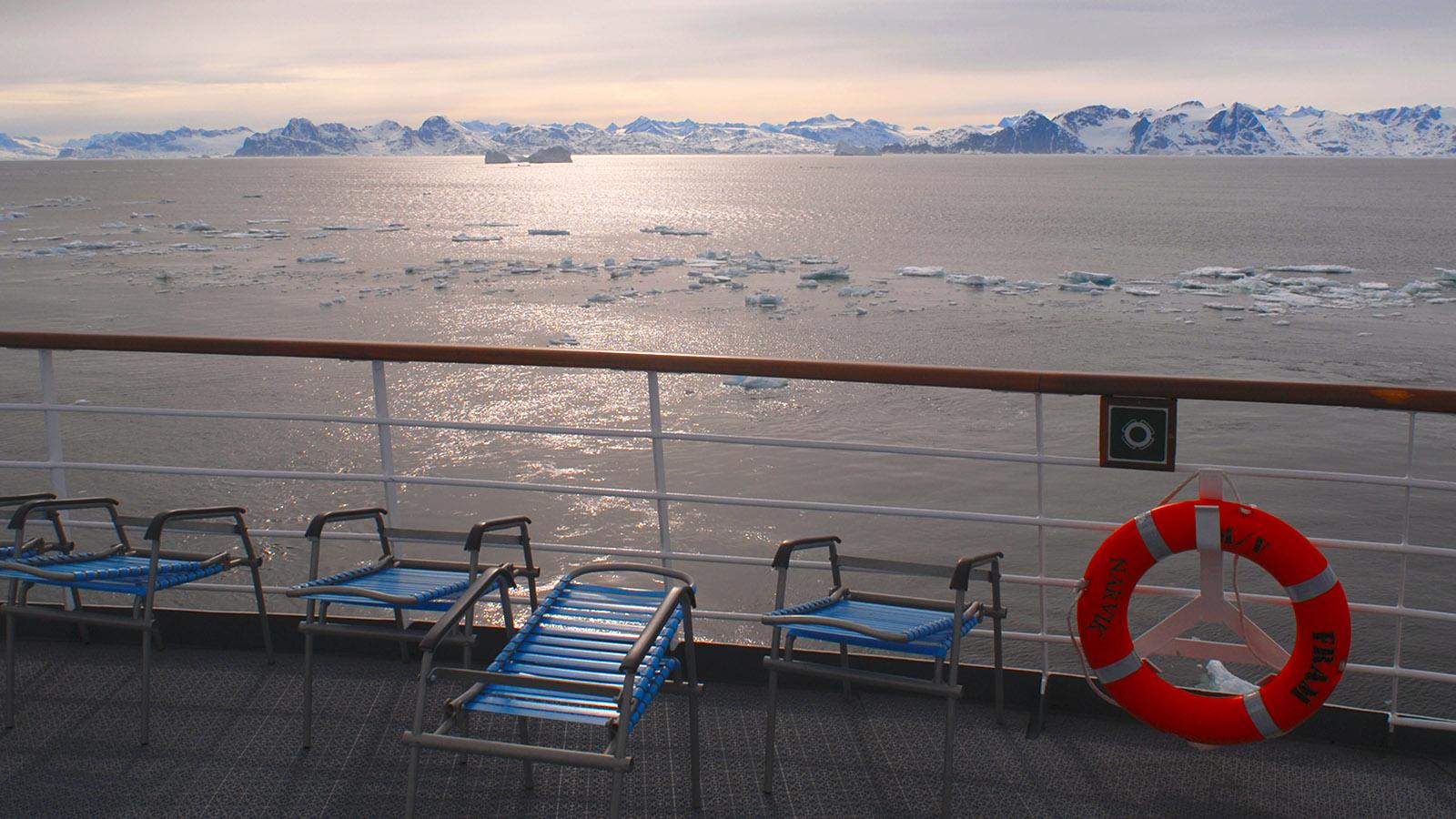 Grönland mit MS Fram: Abendstimmung in der Arktis. Foto: Hilke Maunder