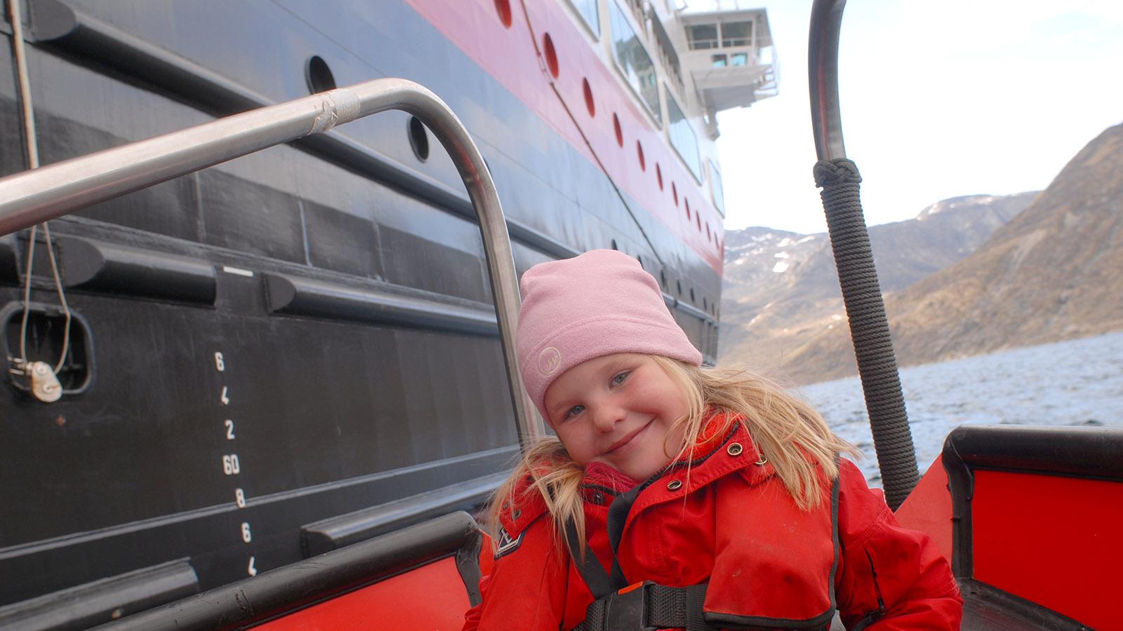 Grönland mit MS Fram: Tendern - für Kinder ein Riesenspaß! Foto: Hilke Maunder