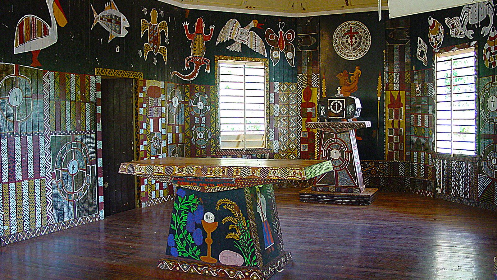 Die Wandmalereien der Kirch von Wurrumiyanga. Foto: Hilke Maunder
