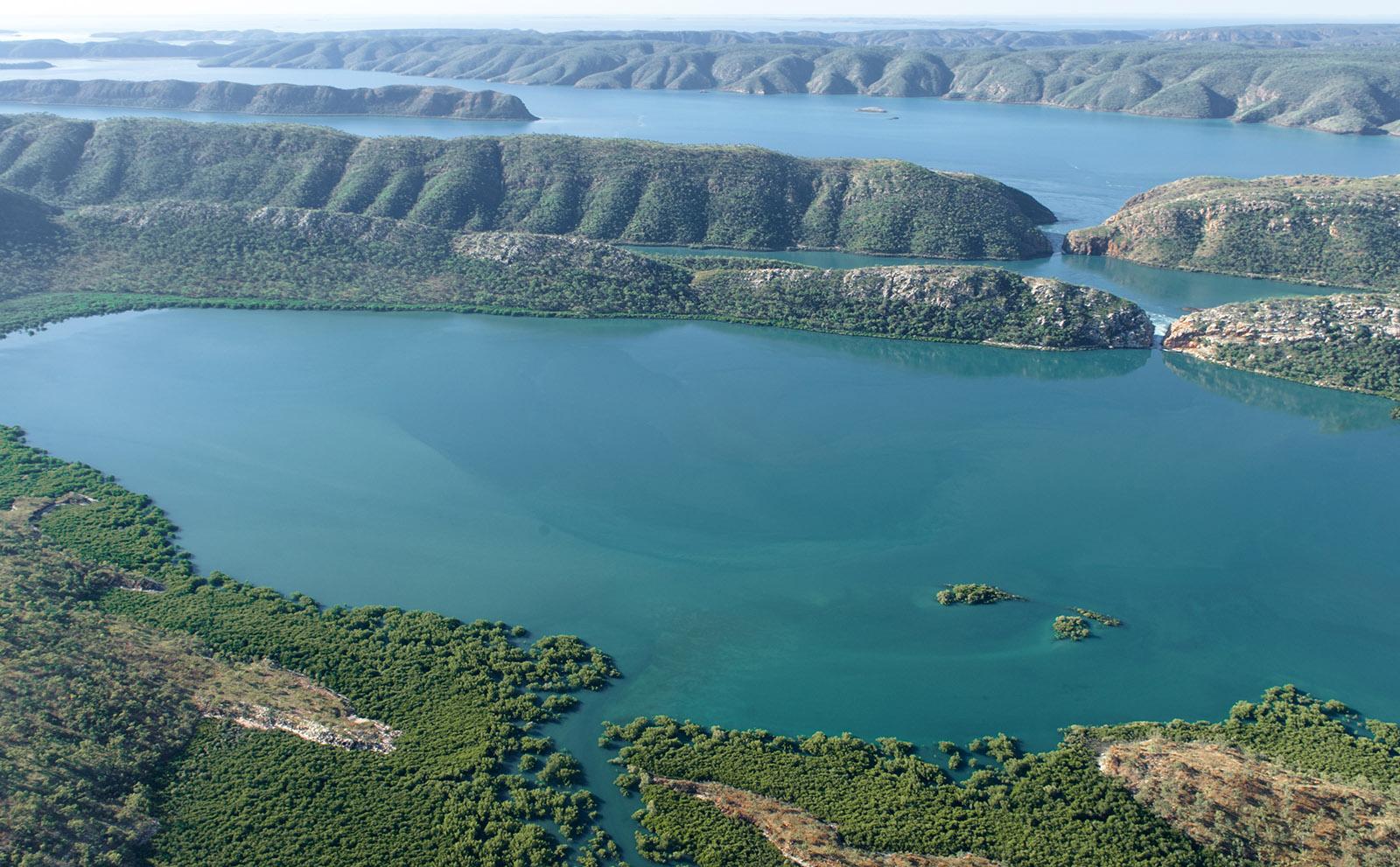 Die Horizontal Falls der Talbot Bay aus der Luft. Foto: Hilke Maunder