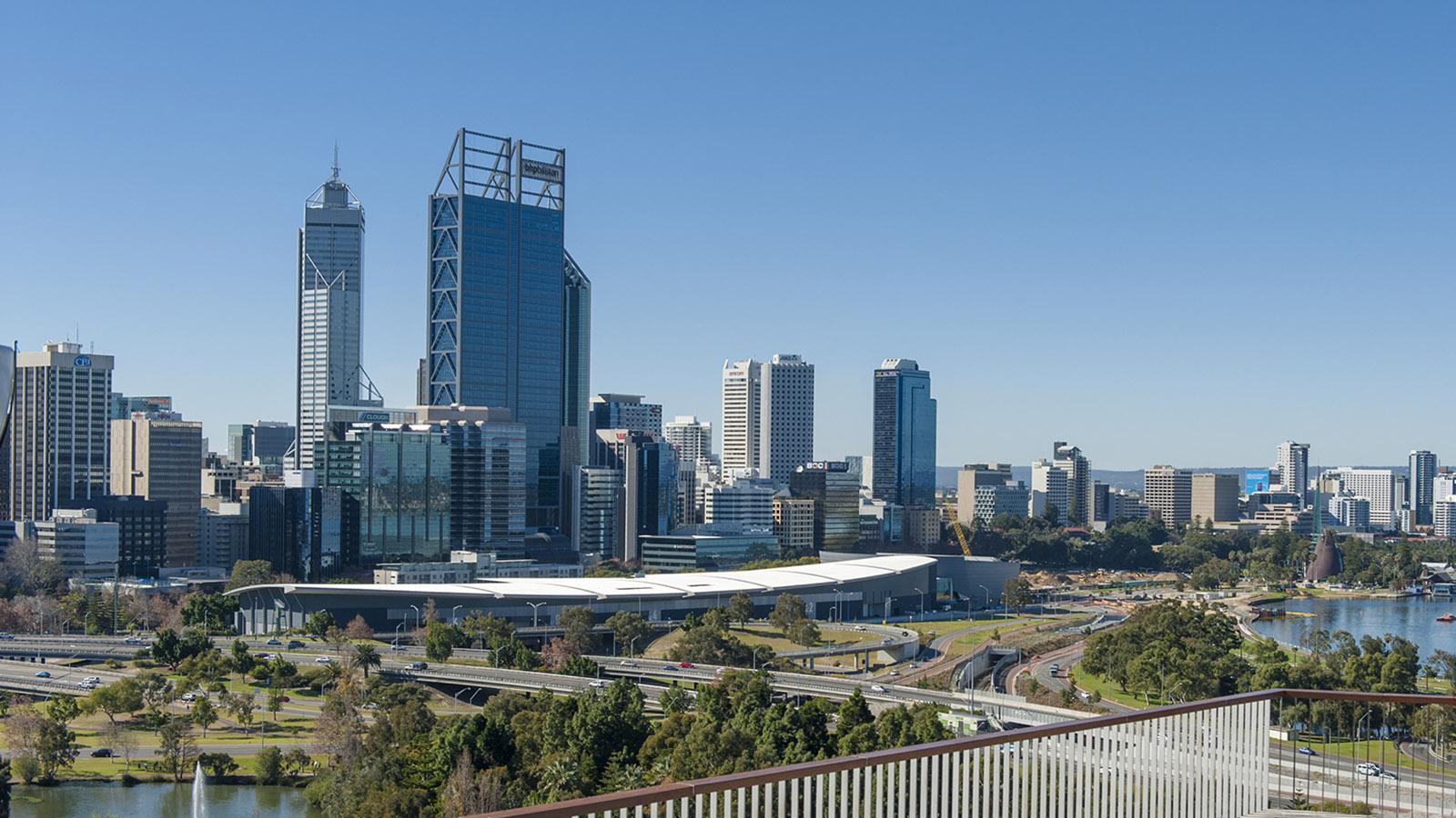 Blick auf Perth vom Kaarta-Gar-Up-Lookout im Kings Park. Foto: Hilke Maunder