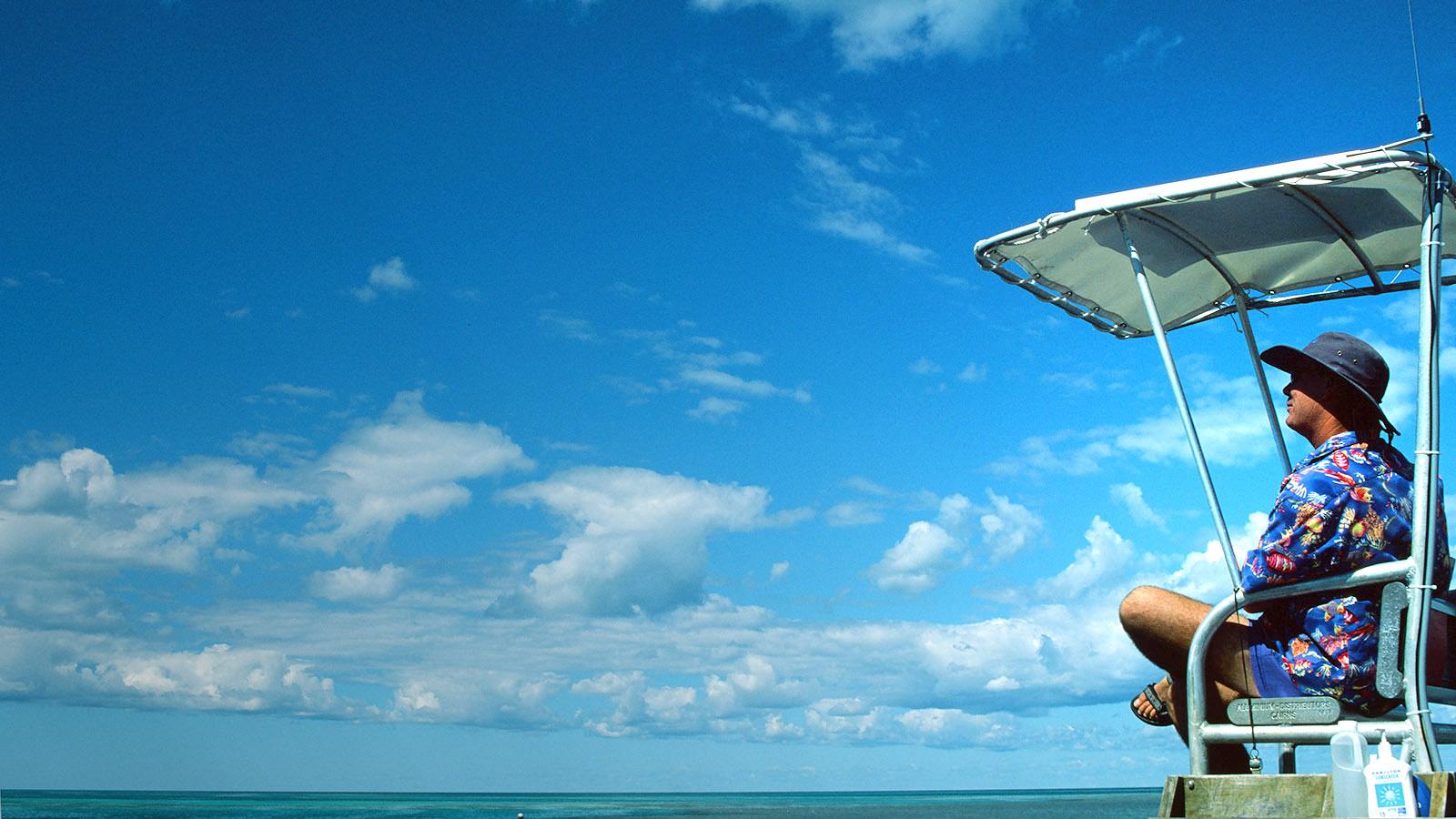 Whitsundays: Die Bade-Aufsicht der Reefworld-Plattform am Hardy Reef. Foto: Hilke Maunder