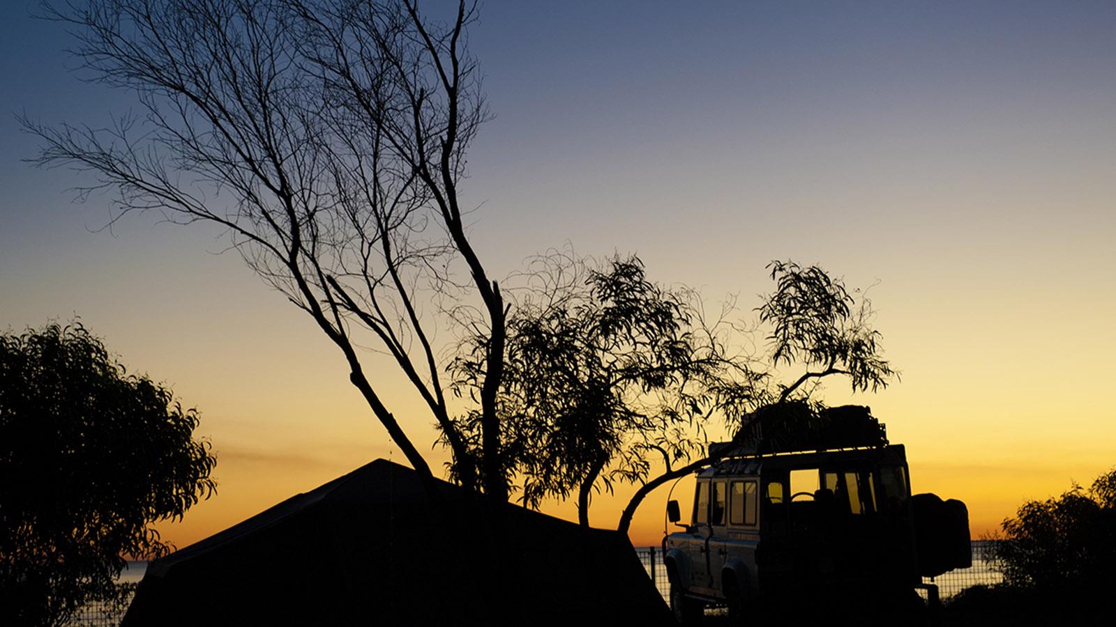 Zelt, Jeep, Natur: Camping im Wildnis-Camp Kooljaman. Foto: Hilke Maunder