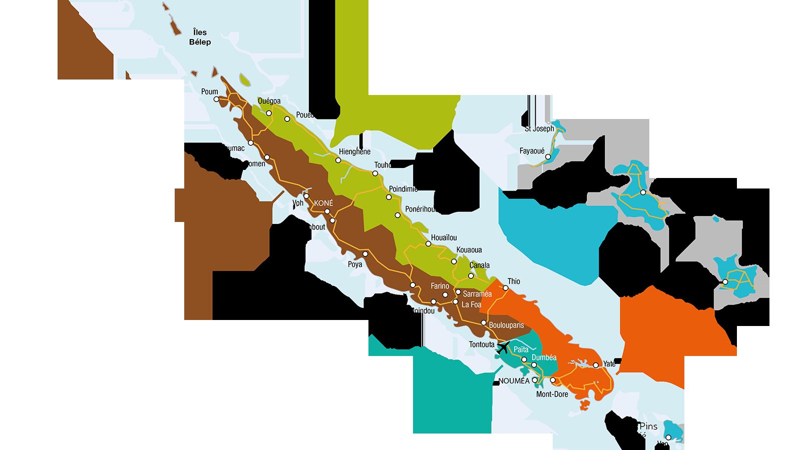Die Regionen von Neukaledonien. Copyright: Tourisme Nouvelle-Calédonie