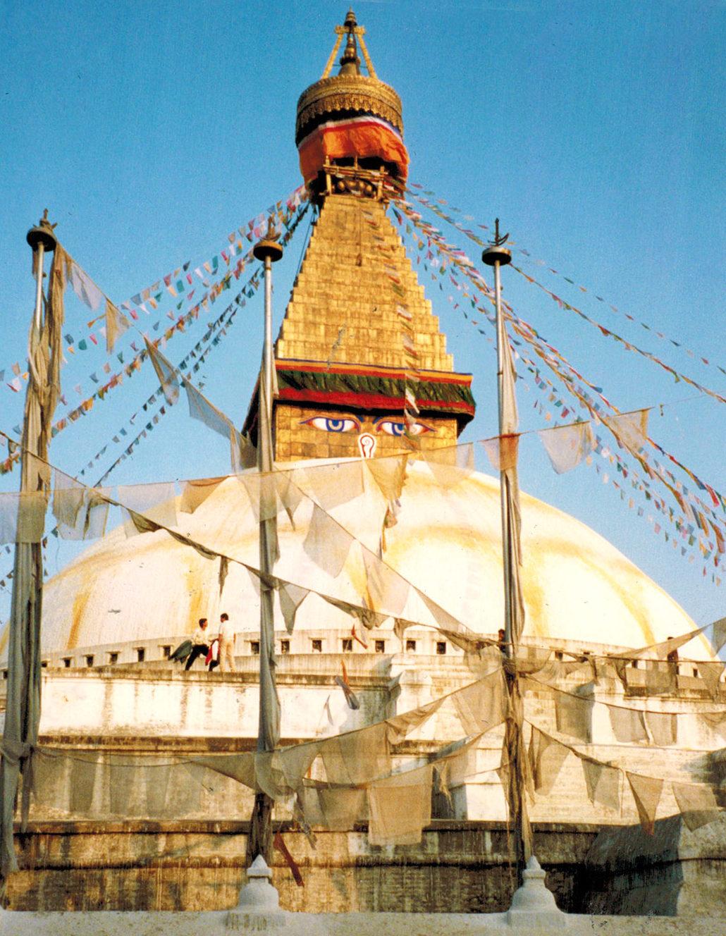 Nepal: Die Stupa von Bodnath, wie sie vor dem Erdbeben von 2015 aussah. Foto: Hilke Maunder