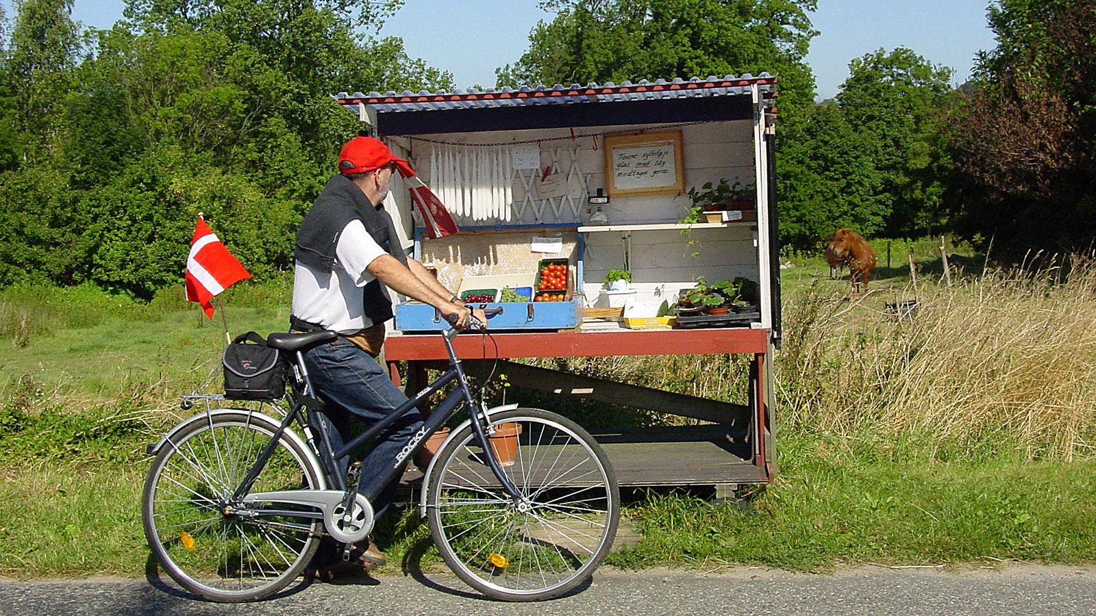 Per Rad entdeckt: Verkaufsstand am Wegesrand. Foto: Hilke Maunder