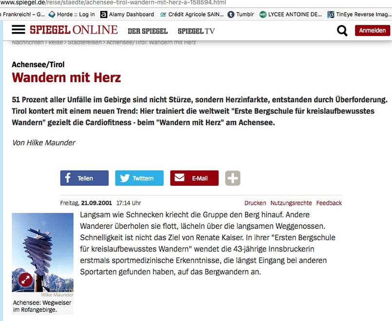 Wandern mit Herz: Bericht über Achenkirche auf Spiegel Online von Hilke Maunder