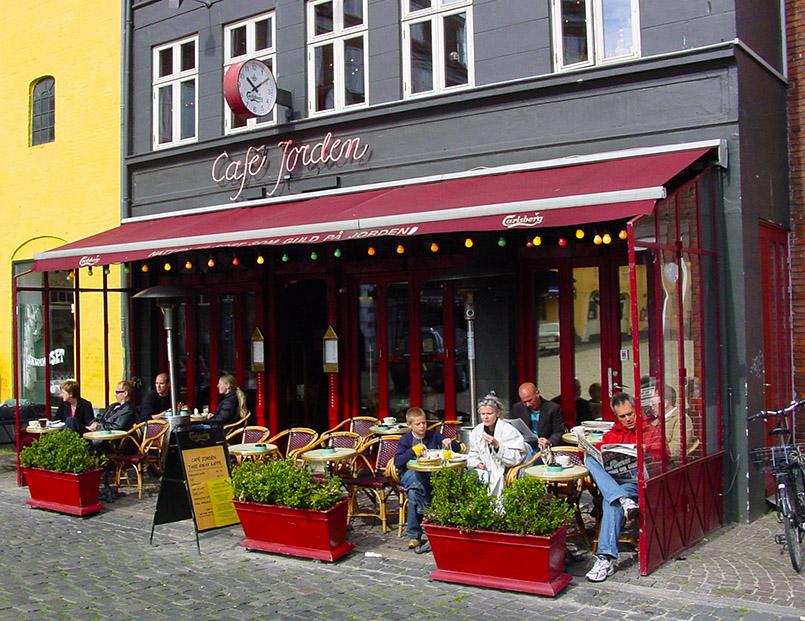 Café Jordan im Lateinerviertel von Aarhus