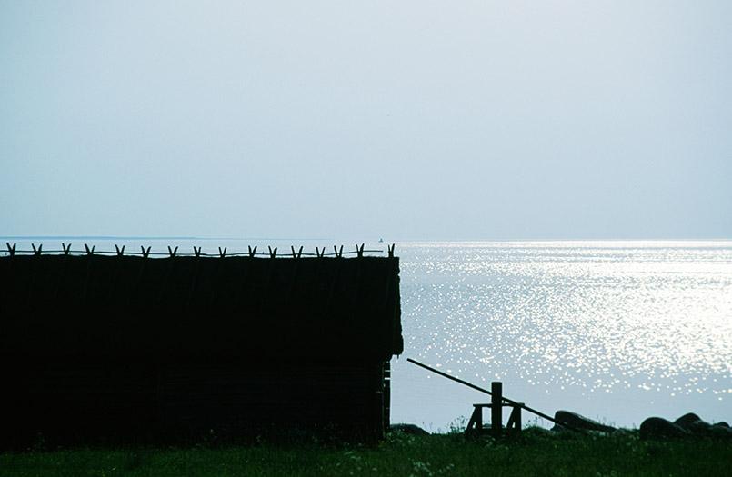 Estland/Pringi: Fischerhütte im Gegenlicht