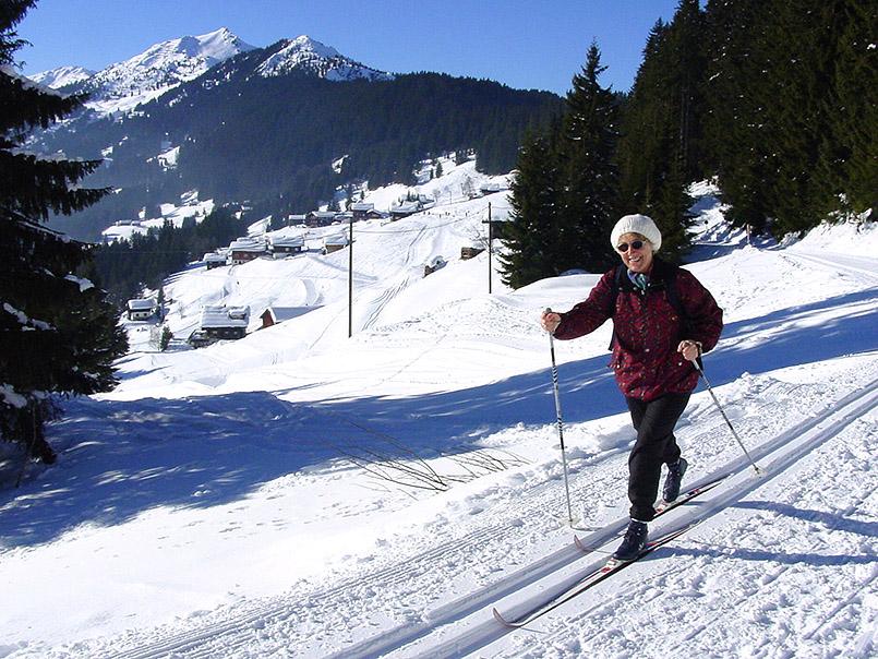 Langlauf am Kristberg. Die Loipe auf rund 1.600 Meter Höhe misst insgesamt elf Kilometer.