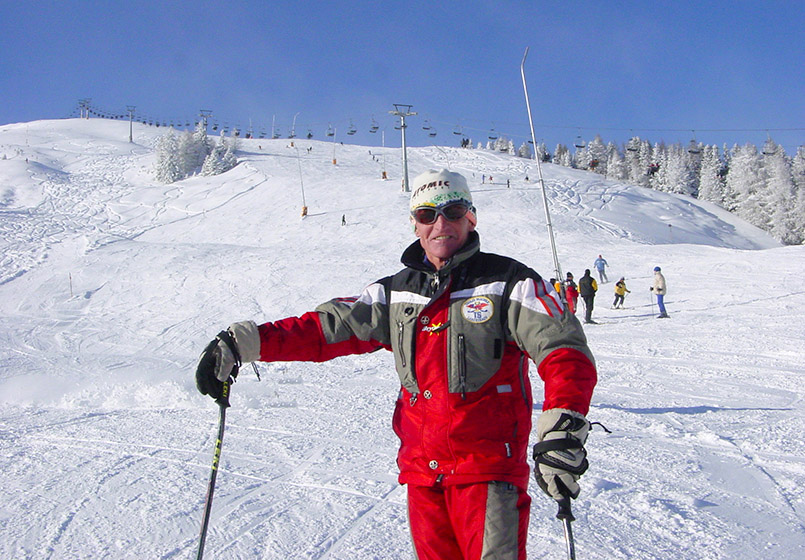 ux: Skigebiet Eggalm, Piste am Lattenalmlift; Skilehrer Rudi.