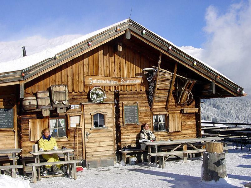 Tux: Skigebiet Eggalm, Jausenstation Lattenalm.