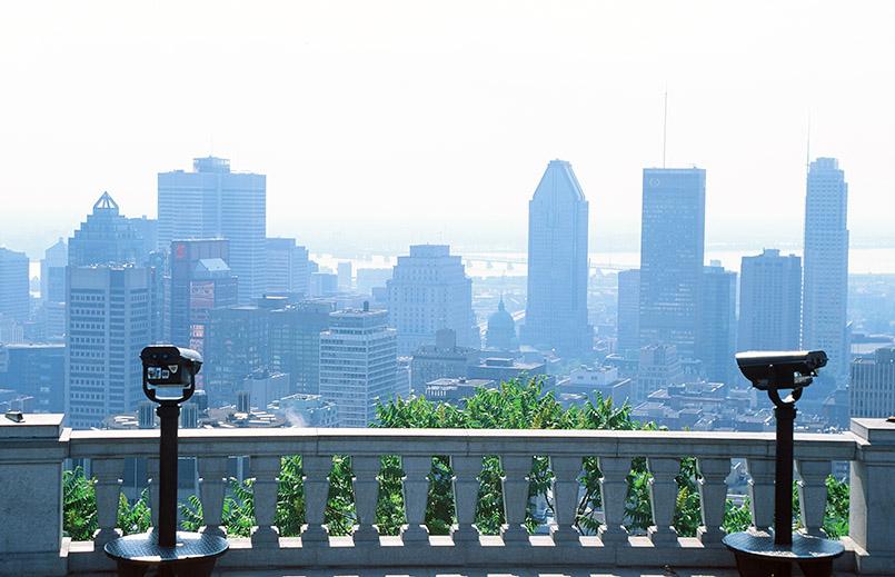 Die Aussicht auf die Metropole vom Belvedere des Mont-Royal