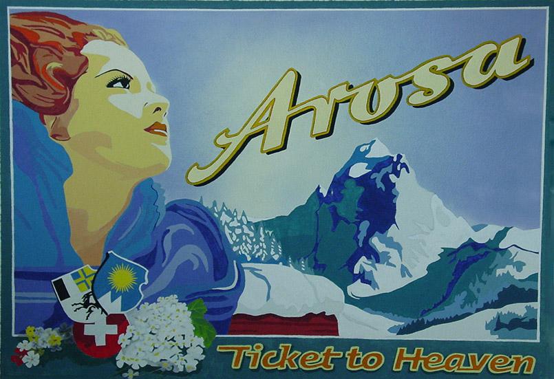 Arosa: Wandbild im Aufgang zur Weißhorn-Gondel.