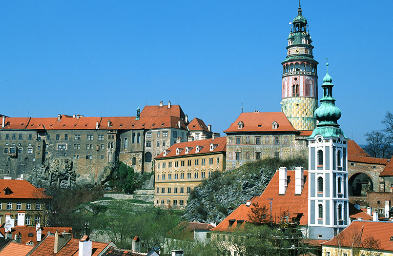 Český Krumlov (Krumau): Blick auf Altstadt und Schloss. UNESCO-Weltkulturerbe.
