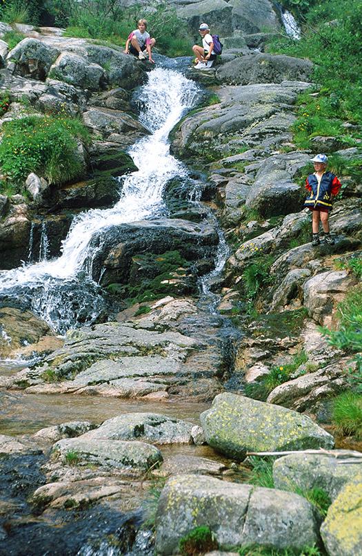 Unterwegs im Riesengebirge: oberhalb des Elbwasserfalls