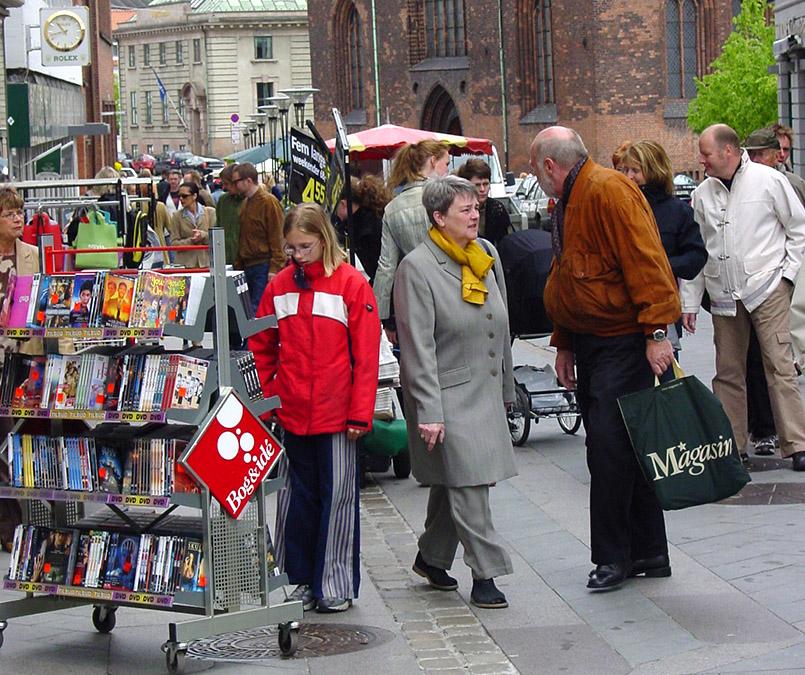In der Fußgängerzone Sondergade von Aarhus
