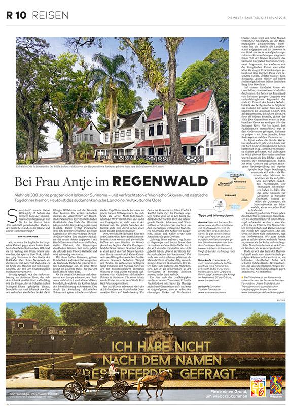 Suriname - der Beitrag von Hilke Maunder für die WELT-Gruppe