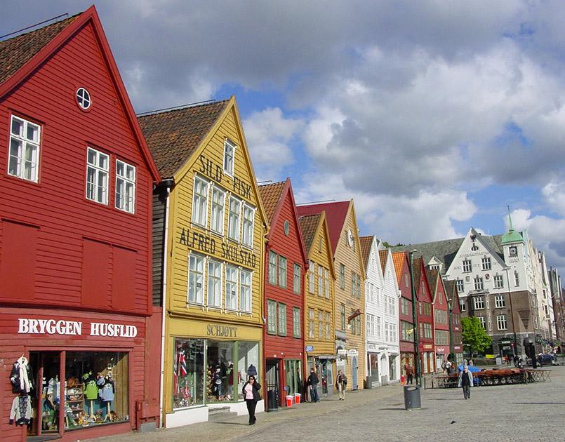Die alten Hansekontore am Bryggen von Bergen