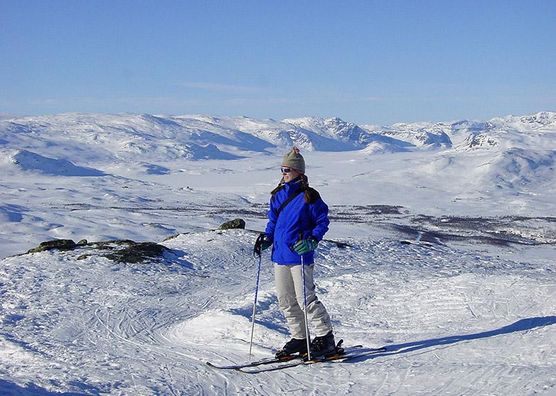 Hemsedal: Weitblickü¸ber das Fjellgebiet von der Bergstation des Tinden-Liftes (Hamaren-Gipfel, 1.444 Meter).