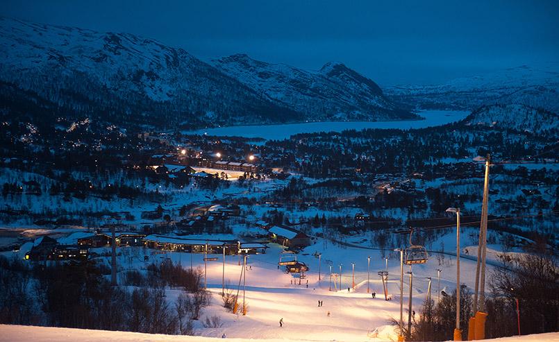 Flutlicht-Ski in Hovden