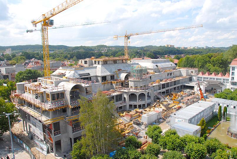 Sopot: Blick vom Leuchtturm auf die Neubauprojekte Einkaufszentrum, Kurhaus und Resort-Bereich des Sheraton-Hotels