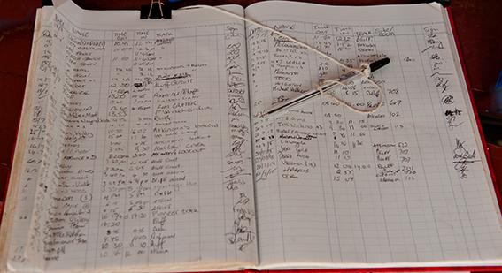 Vor jeder Wanderung im Undara Lava Tubes Nationalpark: die Registrierung der Wanderer