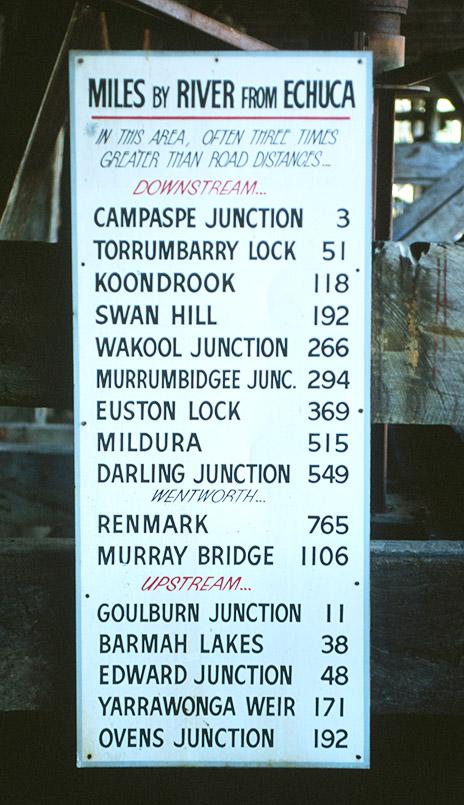 Im Hafen von Echuca ist eine alte Entfernungstabelle für Schifffahrt auf dem Murray zu sehen.