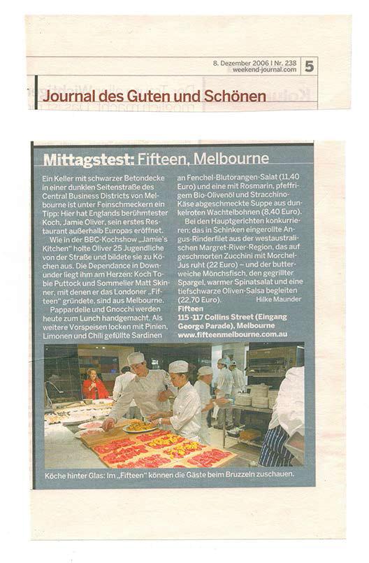 """Mittagstest """"Fifteen"""" im Handelsblatt von Hilke Maunder"""