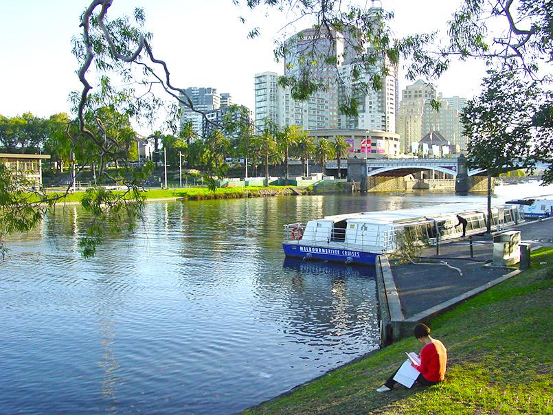 AUS/VIC/Melbourne: Yarra River, Blick Southbank.