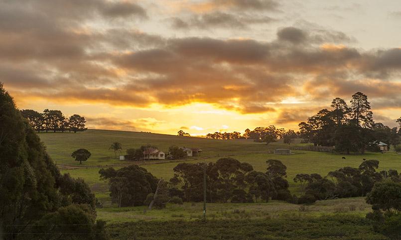 Sonnenuntergang bei Pemberton in den Southern Forests