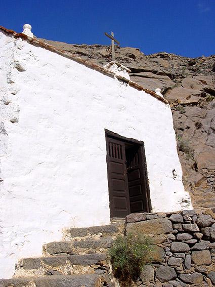 E/Kanaren/Fuerteventura/Betancuria/ Barranco de la Penitas:Kapelle Virgen de la Pena.