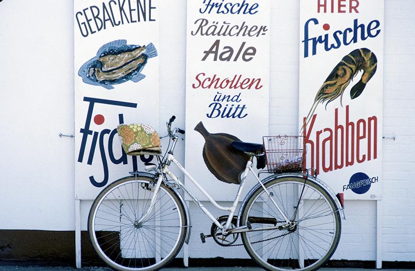 D(Schleswig-Hostelin: Reklametafeln einer Fischbude